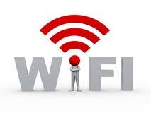 hombre 3d en el wifi Foto de archivo libre de regalías