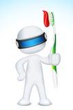hombre 3d en vector con el cepillo de dientes Imagenes de archivo