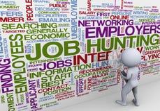 hombre 3d que busca para el trabajo