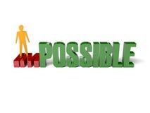 hombre 3D que da vuelta a la palabra imposible en posible. Imágenes de archivo libres de regalías