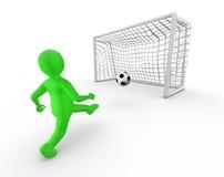 hombre 3d que golpea una bola con el pie en la meta Fotos de archivo