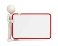 hombre 3d que lleva a cabo a una tarjeta vacía con el marco rojo Foto de archivo libre de regalías