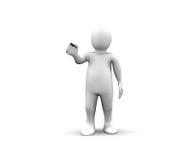 hombre 3d que muestra un palillo negro Foto de archivo libre de regalías
