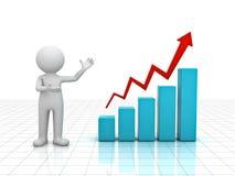hombre 3d que presenta el gráfico de la carta de crecimiento del asunto Foto de archivo libre de regalías