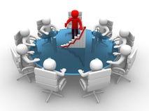 hombre 3D que se sienta en una mesa redonda y que tiene reunión de negocios Foto de archivo libre de regalías