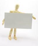 hombre 3D que sostiene la tarjeta de visita en blanco Imágenes de archivo libres de regalías
