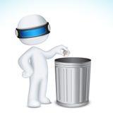 hombre 3d que usa el cubo de basura Imagen de archivo libre de regalías