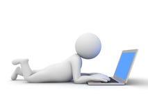 hombre 3d que usa el ordenador portátil libre illustration