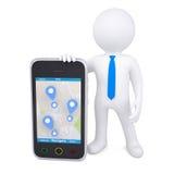 hombre 3d y un smartphone con un mapa y las marcas Foto de archivo libre de regalías