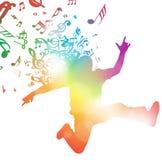 Hombre abstracto que salta con música ilustración del vector