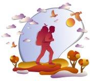 Hombre activo joven que camina en otoño a la naturaleza con los prados y ilustración del vector
