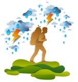 Hombre activo que camina en tormenta con el relámpago y la lluvia, motivación, ilustración del vector