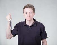 Hombre adulto con el cuchillo Imagen de archivo