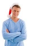 Hombre adulto sonriente con el sombrero de la Navidad Foto de archivo