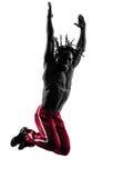Hombre africano que ejercita la silueta del baile del zumba de la aptitud Imagen de archivo libre de regalías