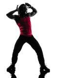 Hombre africano que ejercita la silueta del baile del zumba de la aptitud Imagen de archivo