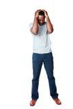 Hombre africano que tiene dolor de cabeza Fotografía de archivo