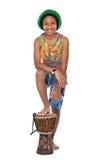 Hombre afro joven del rasta con su conga Foto de archivo libre de regalías