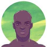 Hombre afroamericano calvo muscular serio joven Imagen de archivo
