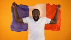 Hombre afroamericano que agita la bandera francesa, fanático del fútbol que apoya al equipo nacional metrajes