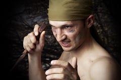 Hombre agresivo con un cuchillo Foto de archivo libre de regalías