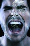 Hombre agresivo que grita bajo el agua Imágenes de archivo libres de regalías