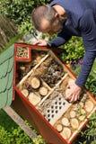 Hombre al lado de una casa del insecto Fotos de archivo