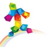 Hombre alegre colorido que camina en un arco iris Fotografía de archivo libre de regalías
