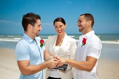 Hombre alegre dos en la boda Imagen de archivo libre de regalías