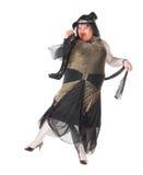 Hombre alegre, reina de fricción, en un juego femenino Fotos de archivo