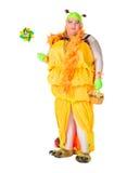 Hombre alegre, reina de fricción, en un juego femenino Fotografía de archivo libre de regalías
