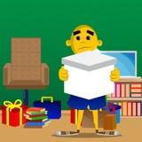 Hombre amarillo que sostiene la caja blanca ilustración del vector