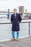 Hombre americano joven que viaja en Nueva York Fotografía de archivo