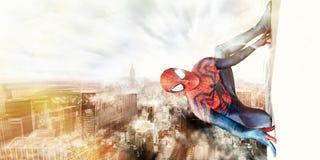 Hombre araña y New York City Fotos de archivo