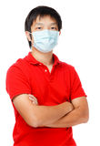 Hombre asiático con la mascarilla Fotos de archivo libres de regalías