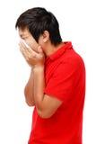 Hombre asiático de estornudo Fotos de archivo libres de regalías
