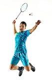 Hombre asiático del jugador del bádminton aislado Foto de archivo libre de regalías