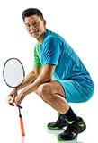 Hombre asiático del jugador del bádminton aislado Fotos de archivo
