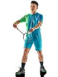 Hombre asiático del jugador del bádminton aislado Imagen de archivo