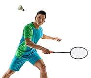 Hombre asiático del jugador del bádminton aislado Foto de archivo