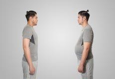 Hombre asiático delgado y gordo Imagen de archivo libre de regalías