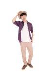 Hombre asiático hermoso con el sombrero Fotos de archivo
