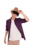 Hombre asiático hermoso con el sombrero Fotos de archivo libres de regalías