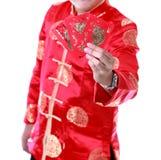 Hombre asiático Sostener el dinero en sobres rojos , Año Nuevo chino en w Imagenes de archivo