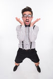 Hombre asustado en estudio Fotografía de archivo libre de regalías