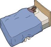 Hombre asustado que intenta dormir Foto de archivo libre de regalías