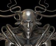 Hombre atado con alambre acero del Cyborg Foto de archivo
