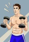 Hombre atlético con pesas de gimnasia Fotografía de archivo libre de regalías