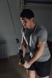Hombre atlético joven que hace el ejercicio para el tríceps en ejercitante del bloque en gimnasio foto de archivo