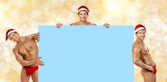 Hombre atractivo Papá Noel Imágenes de archivo libres de regalías